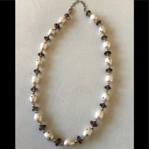 GORGEOUS Pearls Smoky Quartz Sterling Necklace